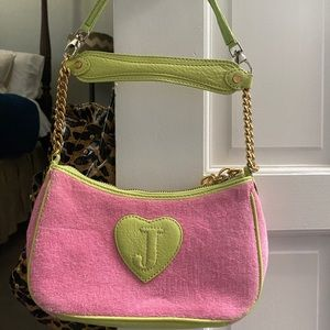 RETRO JUICY COUTURE PINK AND LIME GREEN PURSE